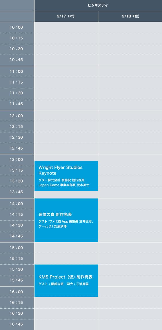 東京ゲームショウ2015 グリーステージイベントタイムスケジュール ビジネスDAY