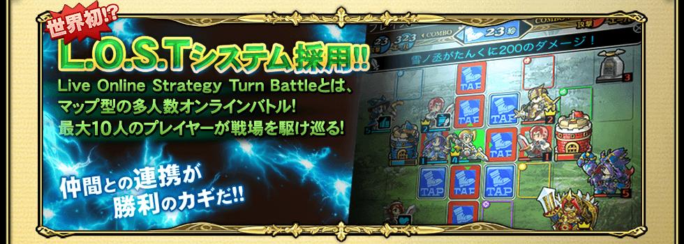 L.O.S.Tシステム採用!Live Online Strategy Turn Battleとは、マップ型の大人数オンラインバトル!最大10人のプレイヤーが戦場を駆け巡る!仲間との連携が勝利のカギだ!!